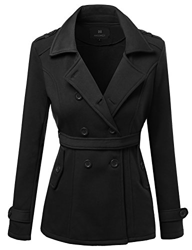 Blend Trench (Beautiful Fit Cotton Blend Classic Double Breasted Trench Coat Black Size L)