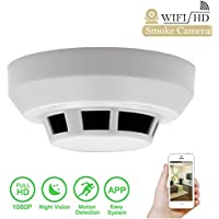 Daretang 1080p Spy Smoke Detector Camera Night Vision Wifi Hidden Nanny Cam Motion Activated ,Wide Angle Security IP Network DV Camcorder Video Recorder,Support Free IOS Android App