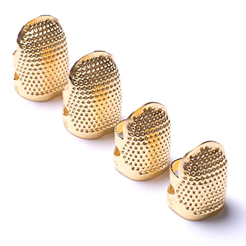 AXEN 4 Pieces Sewing Thimble, Metal Gold Sewing Thimble Finger Protector,Accessories DIY Sewing Tool, Two Size 4 Pieces