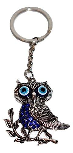 New Silver with Blue Rhinestone Turkish Evil Eye Owl Protection Key Ring Holder (Evil Eye Silver Keychain)
