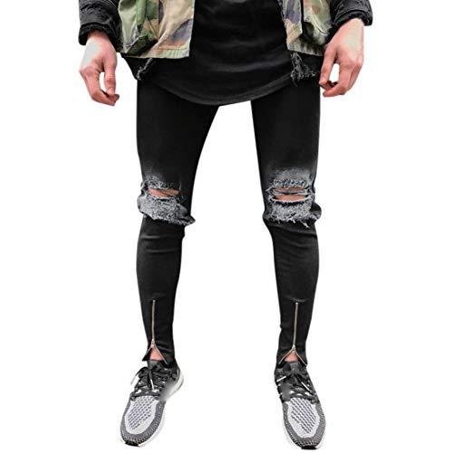 Fori Uomo Vintage Pants Denim Destroyed Pantaloni Da Nero Casual Skinny Saoye Fashion Strappati Giovane Jeans Stretch wXBqOn1SW