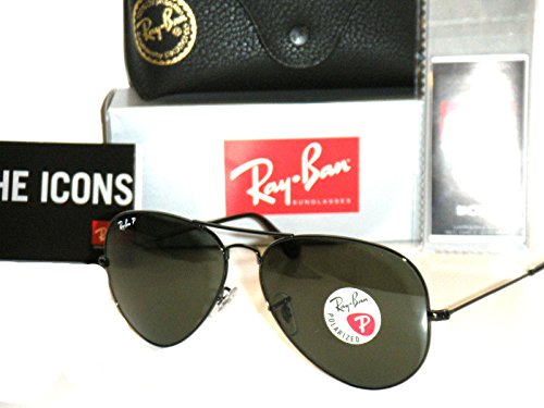 125640e286 Ray-Ban Aviator Polarized Black Frame With Natural Green Rb ...