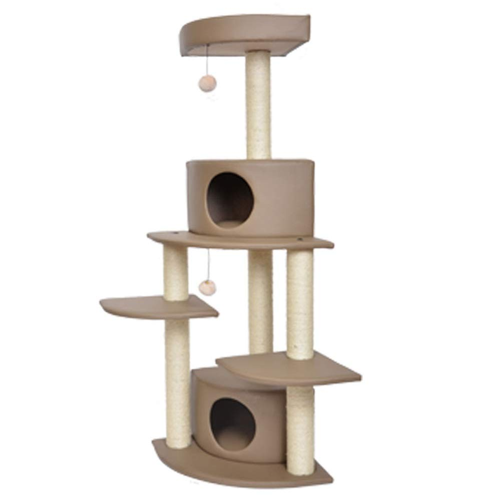 Beige  A-50X50X146cm SHIJINHAO-Cat tree Cat Climbing Frame 4 Layers Stable Cozy Cat House Activity Center, 3 colors, 2 Styles (Size   Beige  A-50X50X146cm)