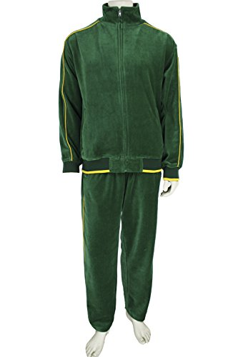 Mens Velour Tracksuit (Large, Patricks Green) (Tracksuit Green)