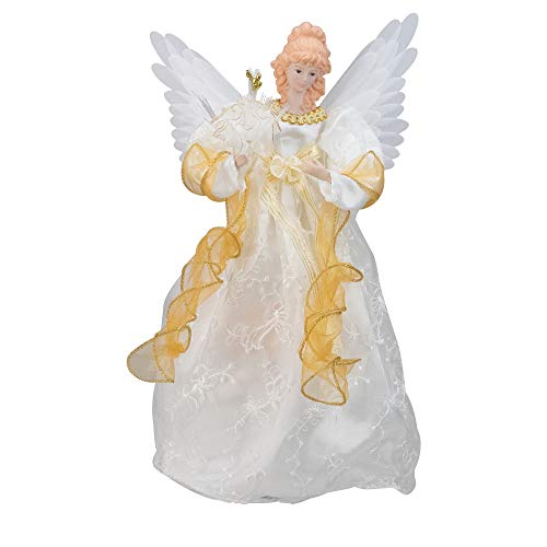 Kurt Adler 14-Inch Fiber Optic Ivory and Gold Animated Angel Treetop (Animated Angel Tree Topper With Moving Wings)