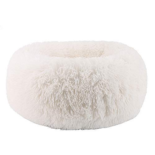 WonderKathy Modern Soft Plush Round Pet Bed for Cats or Small Dogs, Mini Medium Sized Dog Cat Bed Self Warming Autumn Winter Indoor Snooze Sleeping Cozy Kitty Teddy Kennel (S(19.7″Dx7.9″H), White)