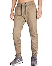 I.TALYMORN Men's Chino Jogger Casual Pant Elastic Adjustable Wasitband Slim Fit