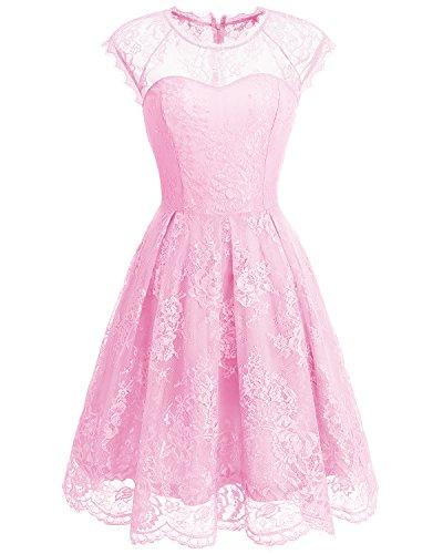 Bbonlinedress Robe Femme Demoiselle d'honneur/soire Cocktail/Rockabily/fte en Dentelle Manches Courtes Pink