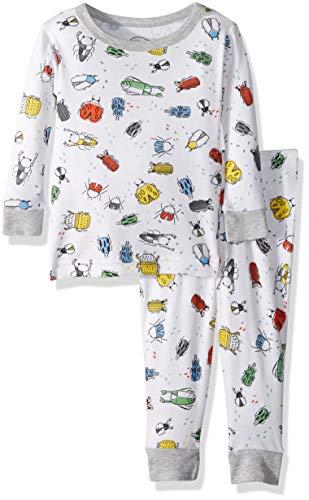 LAMAZE Organic Baby Baby Boys Organic 2 Piece Longsleeve Tight Fit Pajamas Set, White, 18M