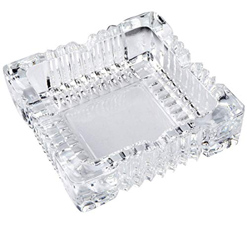 ZLY Square Glass Ashtray for Home Indoor and Outdoor Decorative Square Tabletop Ashtray for Cigars Cigarettes
