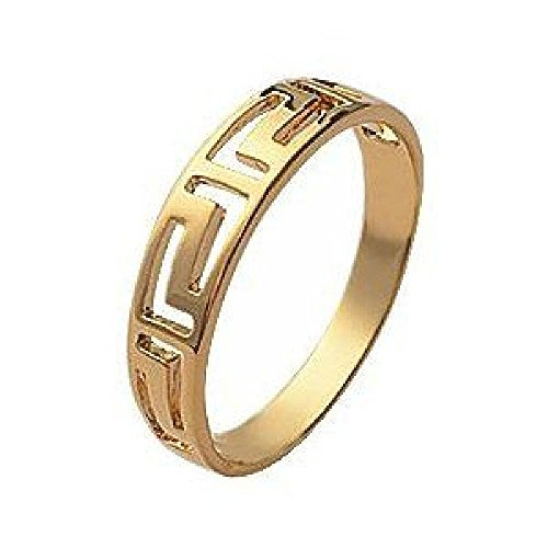 So Chic Jewels - 18k Gold Plated 4 mm Wide Antique Greek Key Pattern cut out Band Ring - Size 7