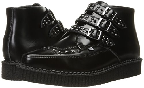 Men's Boot Shoes Leather u T 3 Noir Creeper Pointed Buckle Black Studded k P0tEwxU