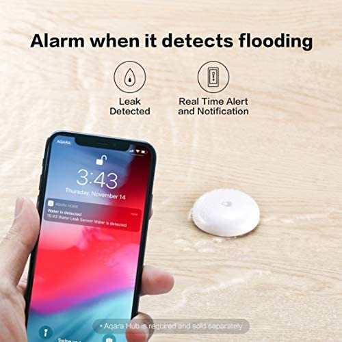 Aqara Water Leak Sensor, REQUIRES AQARA HUB, Wireless Water Leak Detector, Wireless Mini Flood Detector for Alarm System and Smart Home Automation, Water Sensor Alarm for Kitchen Bathroom Basement 41JEO 2BQwh0L
