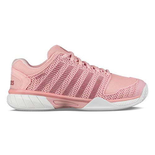 Junior Girl Casual Shoes - K-Swiss Junior Hypercourt Express Tennis Shoes, Coral Blush/White (Size 6 M US Big Kid)
