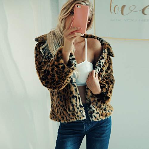 Leopardo para de Estampado Abrigo Abrigo Leopardo Marrón Chaqueta Fleece Mujer Estampado y Piel Mujer de sintética de con de ZARLLE de FOxgAqCwF1