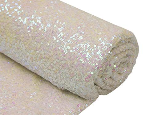 - Sequin Fabric By The Yard-Transparent White,Sparkly Glilz Sequin Fabric For Wedding/Dessert Table,Fabric Xmas Tree Decorations,50inch Width-More Colors Option(3 Feet 1 Yard)