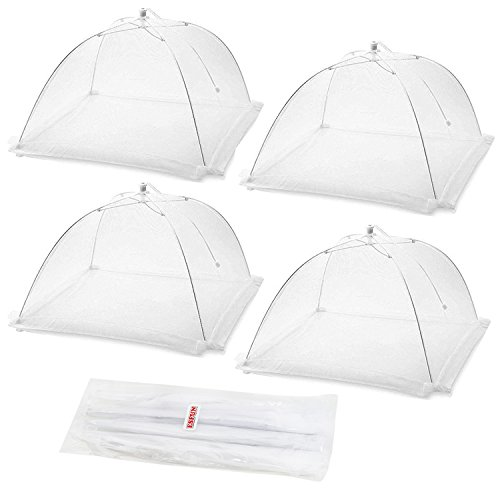 Set of 4 Esfun Large Pop-up Mesh Screen Food Cover Tents Umbrella for Outdoors, 17 inch Collapsible and Reusable Picnic Net Food Covers Mesh Protector- Keep Out Flies, Bugs, Mosquitos