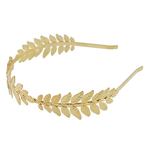 Aegenacess Leaf Headband Wedding Greek Goddess Branch Roman Dainty Hair Bridal Crown Head Dress Boho Accessories for Bride Costumes Halloween (Gold) -