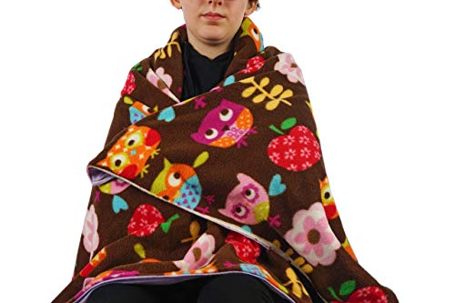 Fleece throw blanket- Brown owls by Created by Laura
