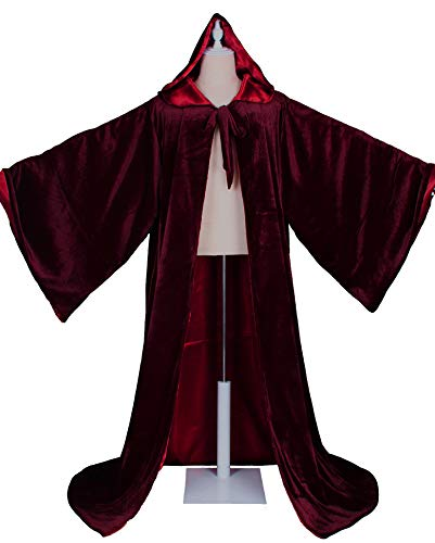 LuckyMjmy Velvet Wizard Robe with Satin Lined Hood and Sleeves (Wine -