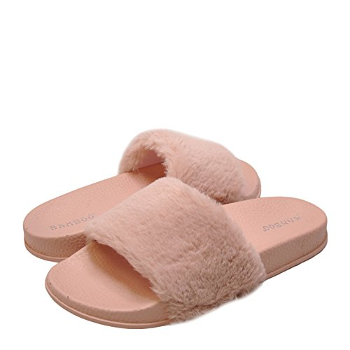 Bamboo Flat Faux 02M Cozy Womens Pink Fur Slide Sandals PrPR7xpw