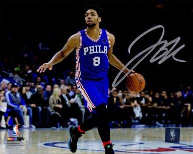 Signed Okafor Photograph 16x20 horizontal blue jersey dribble) Autographed NBA Photos