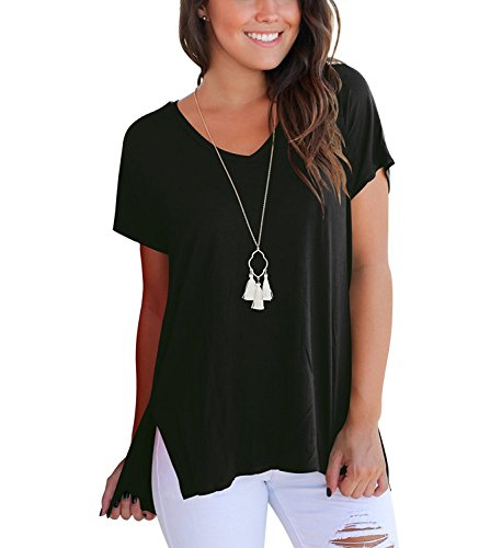(Doris Women's Tunic Top Short Sleeve Sweatshirt V-Neck High Low Loose Basic Tees Tops Blouse with Side Split Black L)