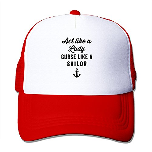 DH&GF Act Like A Lady Curse Like A Sailor Sunscreen Strapback Hat Dad Cap Red (Sailor Outfits For Men)