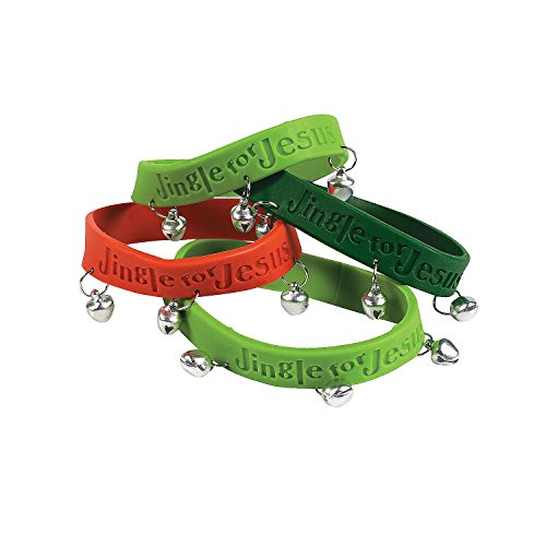 Dozen Christmas Rubber Jingle For Jesus Bracelets With Bells by Jingle For Jesus