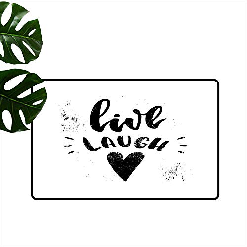 Anzhutwelve Live Laugh Love,Custom Door mats Hand Drawn Monochrome Inspiring Message and Heart with Stained Background Kitchen Living Room Floor Mat Rug W 24