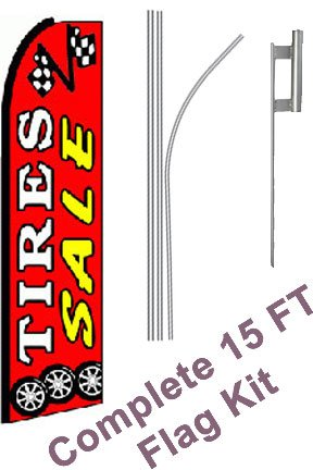 "NEOPlex - ""Tires Sale (Extra Wide)"" Complete Flag Kit - Includes 12' Swooper Feather Business Flag With 15-foot Anodized Aluminum Flagpole AND Ground Spike"