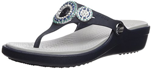 Crocs Women's Sanrah Diamante Wedge Flip W Sandal, Navy/Turq