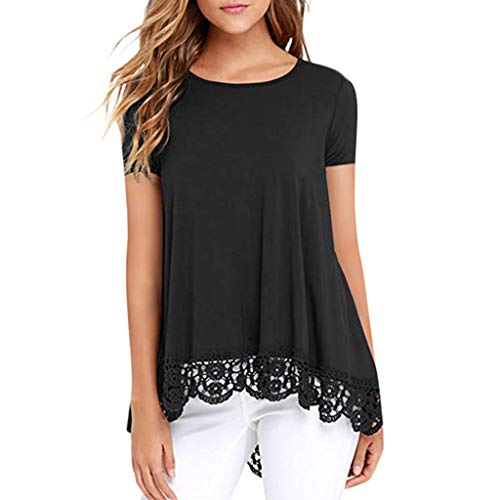 Women's Lantern Long Sleeve Tops Blouse Shirt Dress Casual Hem Lace Panel Short Sleeve Top Black -