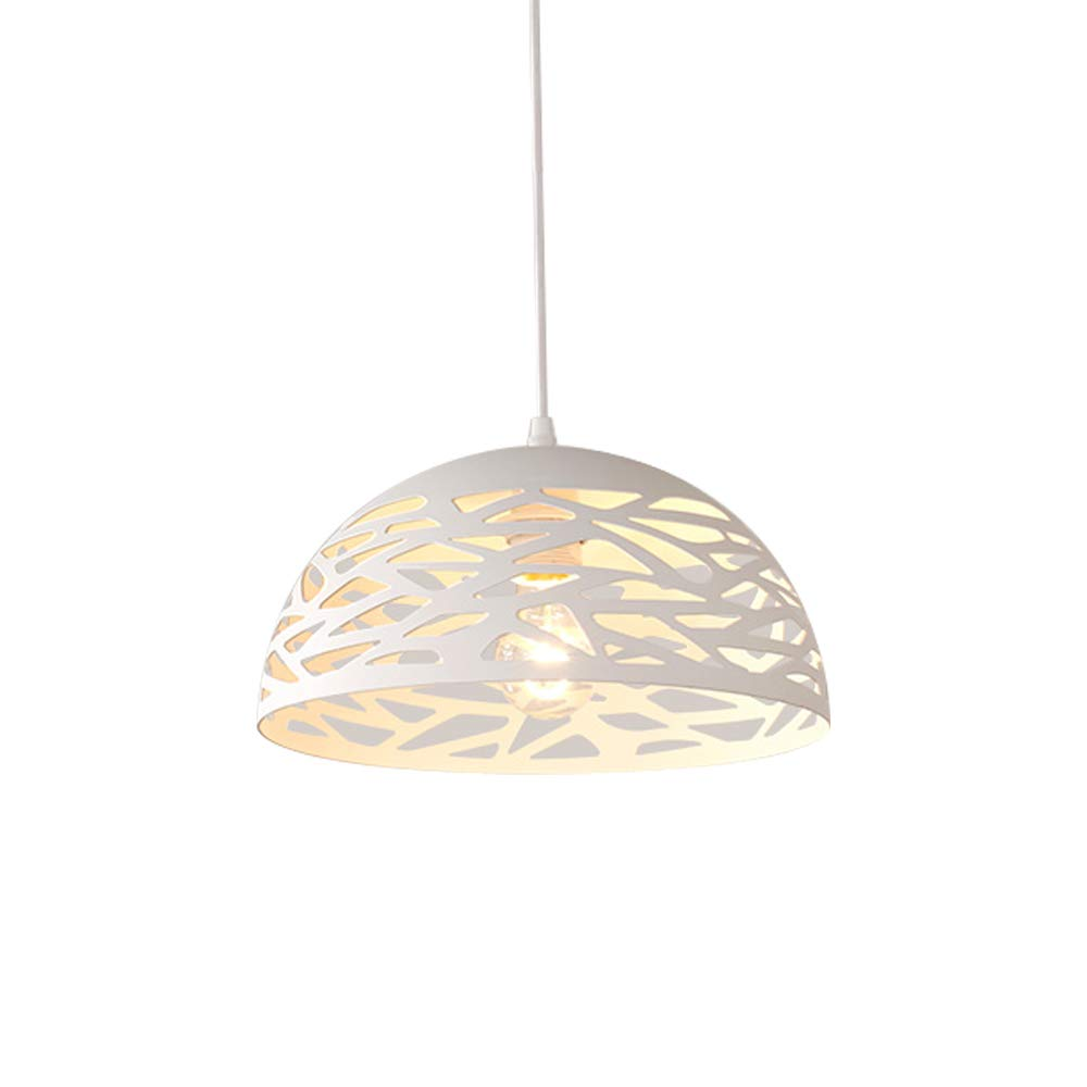 Pendelleuchte Modern 1 flg Design Rund Hängeleuchte im Hemisphärisch Hängelampe Pendellampe Wohnzimmerlampe Esszimmerlampe Esstischlampe Decken Beleuchtung Innen Leuchte Eisen Lampe E27 Weiß