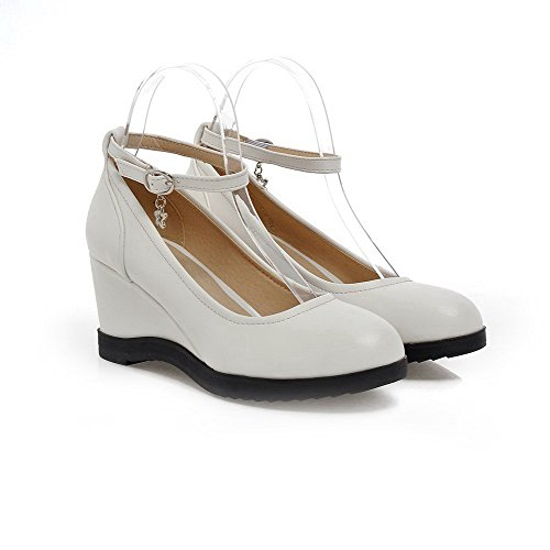 Shoes Material Closed Kitten Pumps Soft Heels Toe Women's Buckle White WeiPoot Solid Round TwqppP