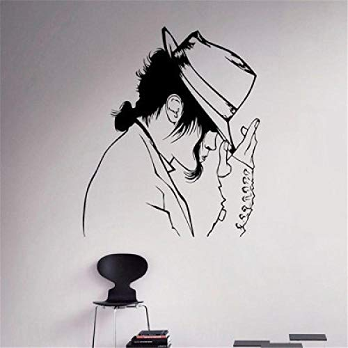 kjyab Wall Stickers Murals Michael Jackson with A Hat Dancing Wall Stickers Art Mural King Mural Vinyl Home Decoration