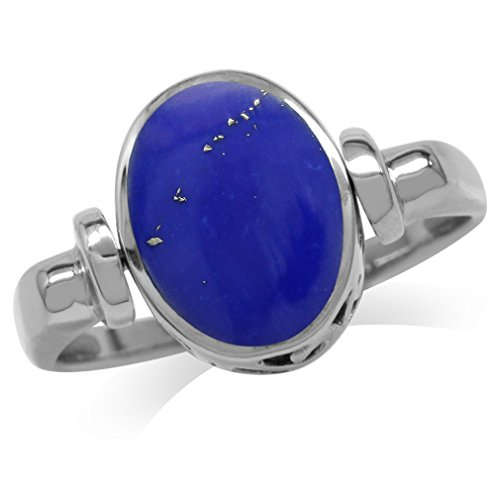 Silvershake Created Blue Lapis Inlay White Gold Plated 925 Sterling Silver Filigree Reversible Ring Size 6