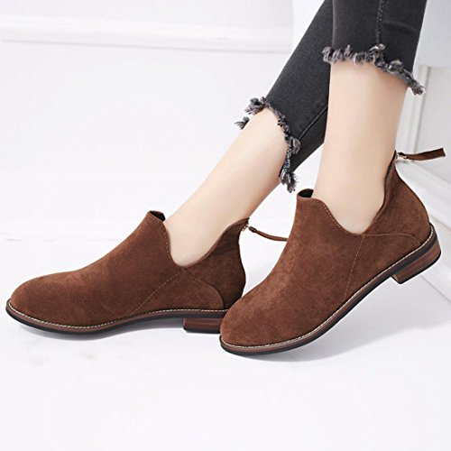 sale snow Hot Shoes Faux Women Zip Solid Ladies Ankle Boots Brown Amiley Buckle Martin Warm Boots aqzFwF5