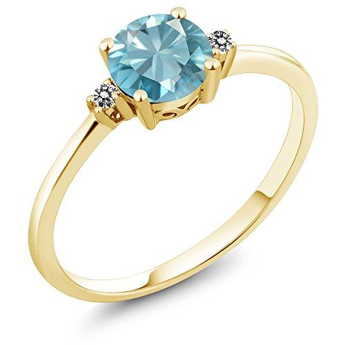 Gem Stone King 10K Yellow Gold 1.23 Ct Round Blue Zircon White Diamond Ring (Size 5)