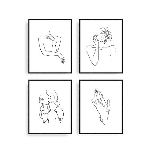 Minimalist Line Art Prints Set of 4 By Haus and Hues | Aesthetic Art Posters | Wall Art Minimalist Painting | Minimal Wall Art | Drawing Poster | Black/White Prints | Unframed (8x10)