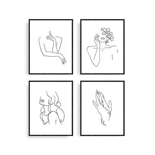 "Carefree Bee - Set of 4 Minimalist Art Prints | Aesthetic Art Posters | Minimal Wall Art Minimalist Painting | Drawing Poster | Black and White Wall Prints | Unframed | 8"" x 10"" | (Minimalist)"