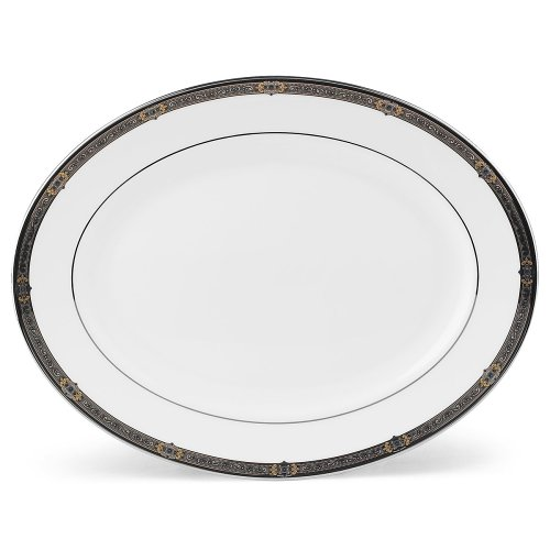 - Lenox Vintage Jewel Platinum Banded Bone China 13 Oval Platter