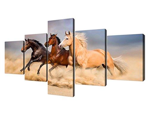 (Yatsen Bridge Running Horses Modern Canvas Painting for Living Room Wall Art Prints Desert Running Horses Pictures Set Wooden Framed Ready to Hang for Office(50''W x 24''H))