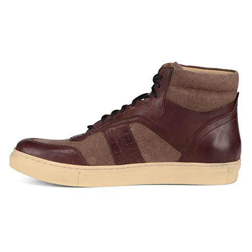 Marc New York Par Andrew Marc Mens Concord Sneaker Oxblood / Cuir Crème / Toile Cirée
