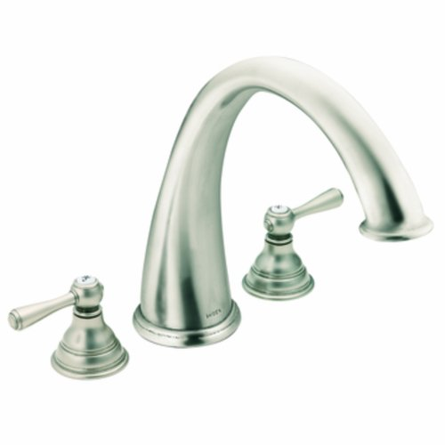 Moen T920AN Kingsley Two-Handle High Arc Roman Tub Faucet without Valve, Antique Nickel - Distressed Nickel Tub