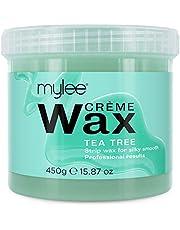 Mylee Zachte Crème Wax voor Gevoelige Huid 450g, Magnetron & Waxverwarmer Bestendig, Ideaal Voor Alle Lichaamsdelen Hardnekkige Grove Ontharing (Tea Tree)