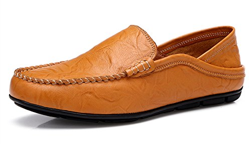 BIFINI Men's Casual Slip On Loafers Shoes Leather Comfortable Slippers Brown ()