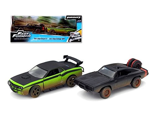 Jada 97340 Doms 1970 Dodge Charger R & T Off Road & Lettys Dodge Challenger SRT8 Fast & Furious 7 Movie Set of 2 Cars 1-32 Diecast Model Cars (Fast And Furious 7 Dodge Charger Off Road)