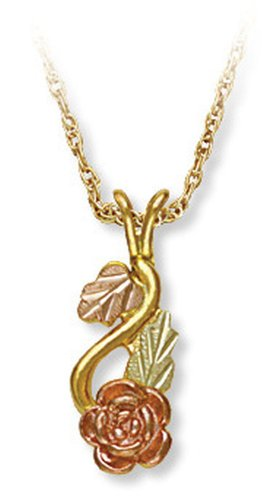 Landstroms 10k Black Hills Gold Rose Pendant Necklace and Leaves, 18