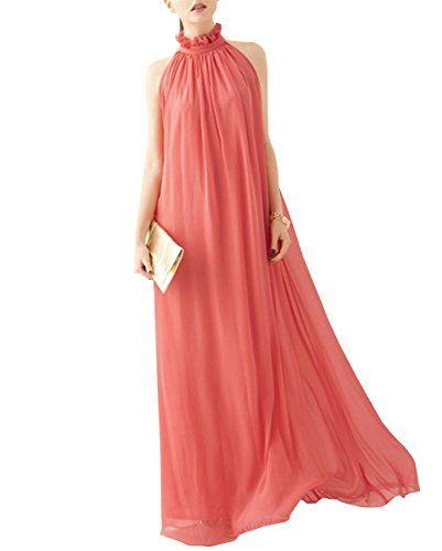 lymanchi Women Maxi Long Casual Summer Evening Beach Party Chiffon Dress Watermelon Red